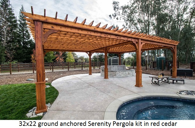 High Quality Ground Anchored Pergola Western Red Cedar Wood 32x22.