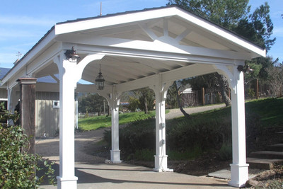 12x20 Pressure Treated Pine Patio Cover Kit. Options Include White Paint,  Shallow Pitch Gable