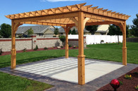 "13'-11 1/2"" x 13'-11 1/2"" (post-to-post outside) Serenity Red Cedar Pergola Kit / 100% Western Red Cedar / Clear sealant / Stainless steel hardware / Kenosha, WI."