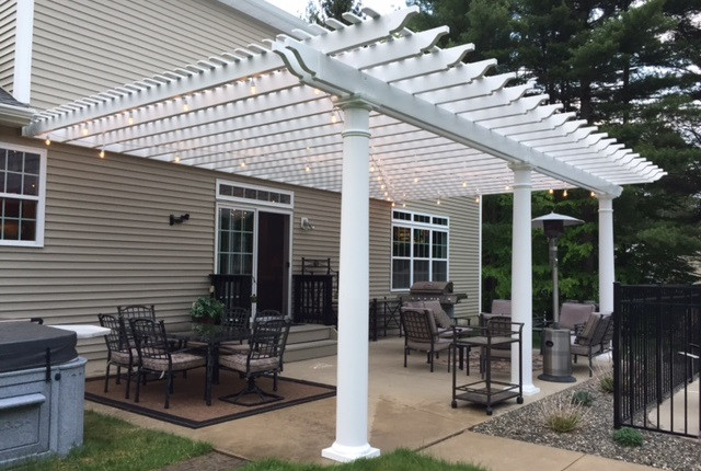 Classic premium vinyl pergola attached for Classic house vinyl