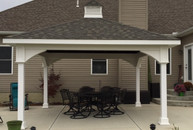 "16' x 16' Premium Vinyl Pavilion - Traditional Roof / 12 "" overhang on all sides / Weatherwood shingles / Cupola / Baltimore, OH."