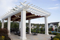 """26x16 structural fiberglass composite pergola kit / 12"""" sq. columns / Infinity Canopy™ featuring Sunbrella™ Fabric that blocks 100% of the sun's rays / Burgundy and Linen colors / Middletown, MD"""