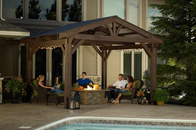 Lodge Pergola Kit, Western Red Cedar, Mahogany or Walnut Stain, available  in over - Outdoor Greatroom Lodge II - Covered Pergola Kit