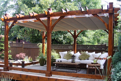 12x16 Everlynn Western Cedar Pergola Kit with retractable canopy - Retractable Roof Pergola. Shade Made Of Marine Grade Material
