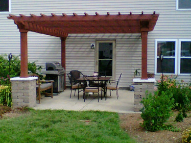 Eastern Pine Pergola Kit In Backyard
