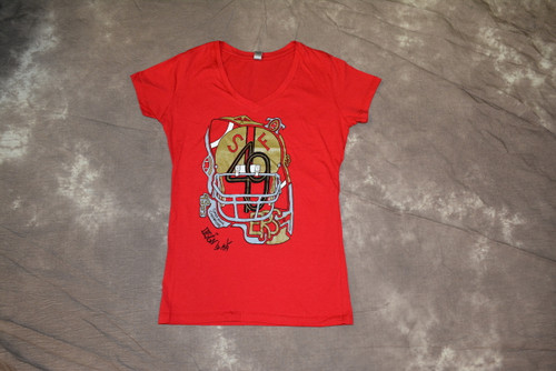 Hand drawn design of the 49ers on soft red v-neck, short sleeve tee. 100% combed ring-spun cotton , slim fit. Fabric laundered for reduce shrinkage. DISCONTINUED ITEM
