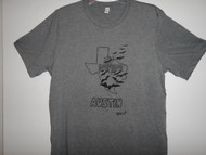 Hand drawn design Bats fliying thru Texas on soft grey triblend short sleeve t-shirt.