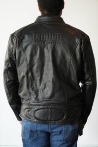 Men's Black Leather Riding Jacket - Medium