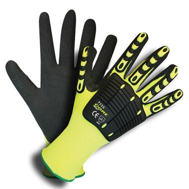 7735L Ogre Impact™ 13 Gauge, Hi Vis Lime Polyester Shell, Tpr Protectors,  Interior Foam Palm Padding, Black Sandy Nitrile Palm Coating