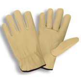 8210XS STANDARD GRAIN COWHIDE DRIVER  UNLINED  SHIRRED ELASTIC BACK  KEYSTONE THUMB                                                                   Cordova Safety Products