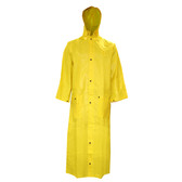 "R8622FRCXL DEFIANCE FR™ .28 MM PVC/NYLON/PVC  YELLOW 2-PIECE RAIN COAT  LIMITED FLAME RESISTANT  STORM FLY FRONT WITH SNAP BUTTONS  60"" LENGTH  DETACHABLE HOOD Cordova Safety Products"