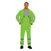 HV353GL RIPTIDE™.35 MM PVC/POLYESTER  HI-VIS LIME  3-PIECE RAIN SUIT  SILVER REFLECTIVE STRIPES  STORM FLY FRONT WITH ZIPPER/SNAP BUTTONS  BIB PANTS WITH SUSPENDERS  DETACHABLE HOOD Cordova Safety Products