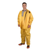 RSHB352YM JETSTREAM™ .30 MM PVC/POLYESTER/PVC  YELLOW 3-PIECE HYDROBLAST SUIT  HOOK & LOOP CLOSURES AT ALL OPENINGS  ZIPPER/SNAP BUTTONS  BIB PANTS WITH SUSPENDERS  THROAT GUARD  ATTACHED HOOD Cordova Safety Products