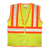 VZ251P6XL CLASS II  LIME MESH VEST  ZIPPER CLOSURE  TWO-TONE CONTRASTING TRIM/REFLECTIVE TAPE  INSIDE LOWER POCKET Cordova Safety Products
