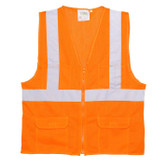 VS270P4XL CLASS II  ORANGE MESH SURVEYORS VEST  ZIPPER CLOSURE  2-INCH SILVER REFLECTIVE STRIPES  CHEST POCKET  TWO OUTSIDE LOWER AND TWO INSIDE LOWER POCKETS Cordova Safety Products