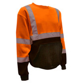SS100-3XL COR-BRITE™ CLASS III ORANGE CREW NECK SWEATSHIRT  300 GRAM POLYESTER FLEECE  BLACK POUCH POCKET  FRONT PANEL AND FOREARMS Cordova Safety Products