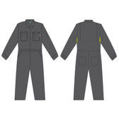 FZ110GY54 FOREFRONT™ FR VENTED COVERALL  GRAY 7 OZ FIREZERO® TWILL FABRIC  FLAP CHEST POCKETS  ZIP FRONT  CHEST SIZE 54 Cordova Safety Products