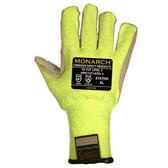 3757HVS MONARCH-LEATHER™/10-GAUGE  HI-VIS GREEN TAEKI5® SHELL  LEATHER PALM  REINFORCED THUMB CROTCH  ANSI CUT LEVEL 4  Cordova Safety Products