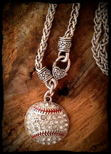 Baseball Rhinestone Necklace