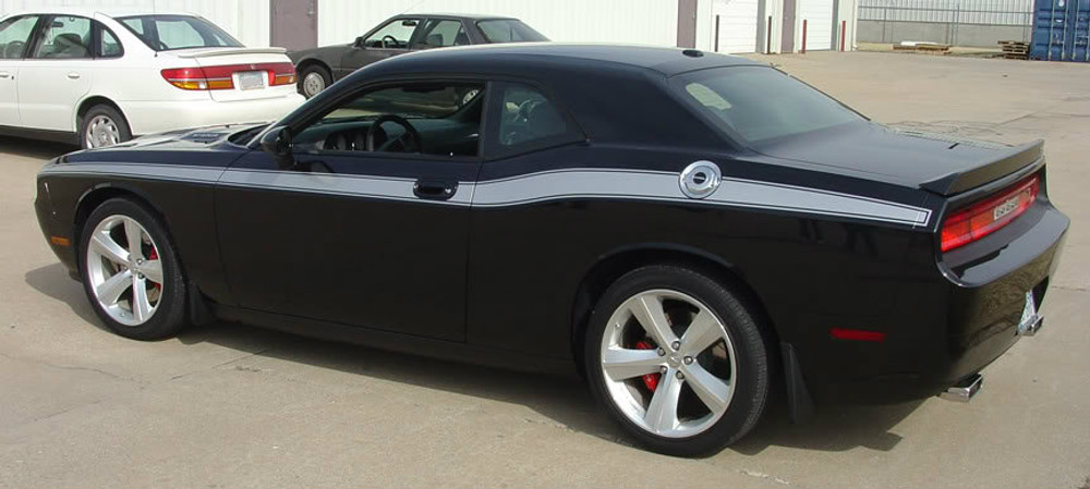 08-14 Dodge Challenger Classic Track Graphic Kit Back Angle