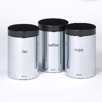 Brabantia 1.4 Litre 3 Storage Canisters in Brilliant Steel