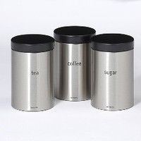 Brabantia 1.4 Litre Set of 3 Storage Canister in Matt Steel