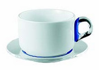 Guzzini InFusion 4 Breakfast Cups With Saucer in Blue