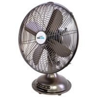 Lloytron Stay Cool Retro Style Metal Desk Fan, 12 Inch
