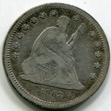 1862 Liberty Seated Quarter  VF20  No Motto