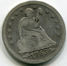 1853 Liberty Seated Quarter  F  Arrows