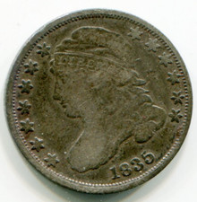 1835 Capped Bust Dime VF30