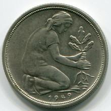 1949-D Germany 50 Pfennig, XF