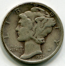 1937 Mercury Dime VF  Double Die OBV