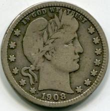1908 D Barber Quarter VG