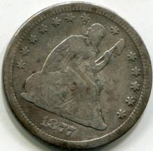 1877 CC Seated Liberty Quarter,  F