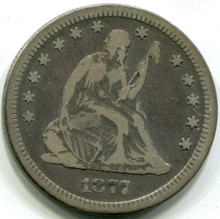 1877 S Seated Liberty Quarter,  F