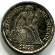 1875 Seated Dime,AU