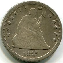 1877 Seated Quarter, VF