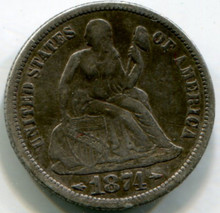 1874 Seated Dime, VF20  Arrows