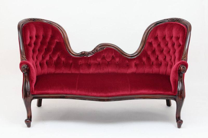 Victorian Sofa with double end mahogany show-frame by Laurel Crown