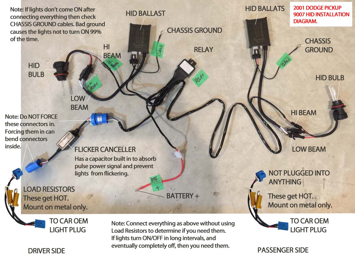 Hid Relay Wiring Harness Diagram : Hid vision canada installation diagrams