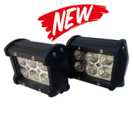 "04"" 18W CREE Straight Dual Row Flood Beam LED Light Bars (L18CREE-Blk) - 2D lens / 2pcs"