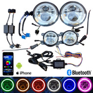 "Bluetooth RGBW Multicolor 7"" & 4"" LED headlight and LED fog light for Jeep Wrangler"