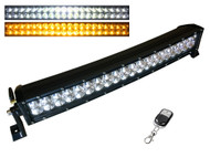 "20"" 120W Remote Controlled CREE Curved Dual Row Dual Color 6 Strobe Effects Spot Beam LED Light Bar 9600lm (SB20-120C) - 5D lens"