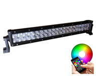 "20"" 120W CREE Straight Dual Row Bluetooth Multicolor RGBW Combo Beam LED Light Bar 9600lm (SB-120BT) - 5D lens"