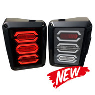 2007-2016 JEEP Wrangler JK DOT SAE Compliant LED Tail Light Set with CLEAR LENS (G004C) - 2pcs