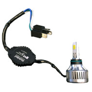 Bulb with fan and external LED driver and an H4 power connector
