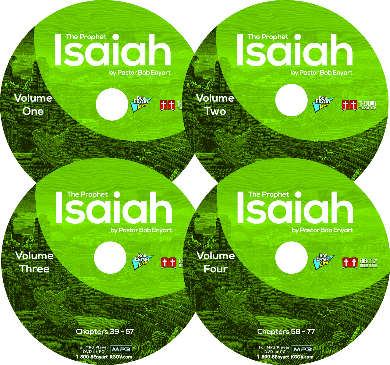 Image of the four MP3 CDs of Bob Enyart's Isaiah series
