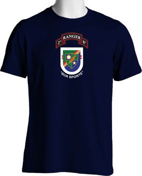 "2-75th Ranger Battalion ""Old Flash & New Scroll"" (Chest) Cotton Shirt"