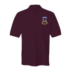 504th Parachute Infantry Regiment Crest w/ Skull & Wings Embroidered Cotton Polo Shirt